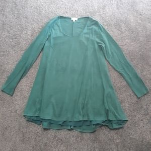 Umgee Solid Green Long Sleeves Dress